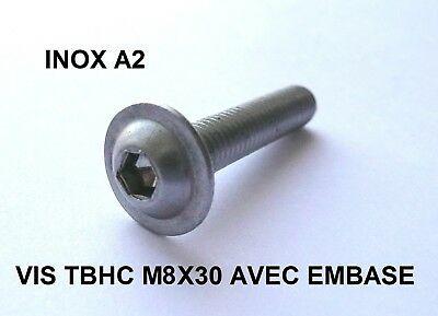 VIS TBHC INOX A2 M8 x 30 mm TETE BOMBEE HEXAGONALE CREUSE A EMBASE