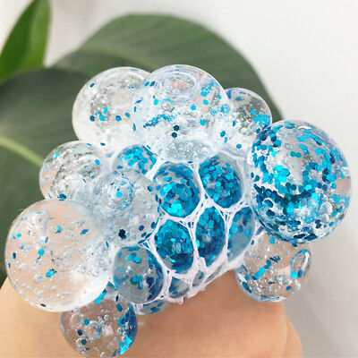 Squishy Mesh Crystal Grape Ball Squeeze Rubber Anti-Stress Relief Toys Kids Gift
