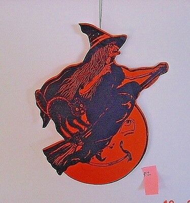 Vintage Die Cut Halloween Witch and Cat on Broomstick...Comic Moon