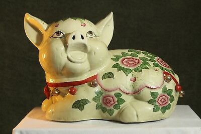 Vintage PIG Very LARGE Amazing & Unique Ceramic Hand Painted Floral PIGGY Bank 1