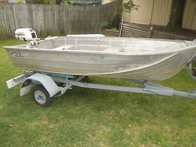 Tinny Sea-Al Boat, Dinghy. 10ft With Trailer & 3.5 hp Johnson outboard. G/Cond