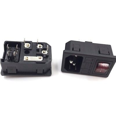 2X Socket with Light Fuse Switch Inlet Male Power 10A 250V 3 Pin IEC320 C14 AD