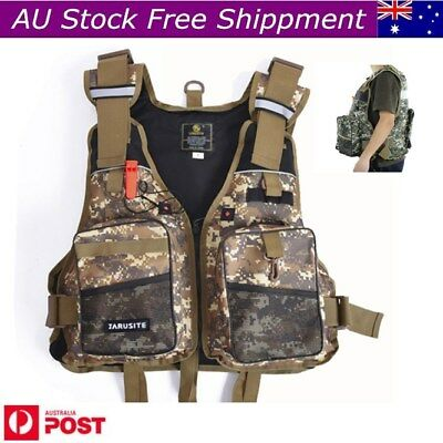Multi-pocket Fly Fishing Vest Backpack Chest Mesh Bag Adjustable Size Outdoor AU