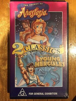 VHS 2 Classics ANASTASIA and YOUNG HERCULES Video Cassette Tape PAL