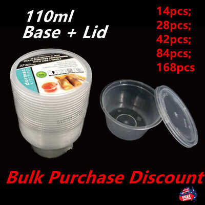PLASTIC DIPPING SAUCE DISPOSABLE SMALL CONTAINER CUPS + LIDS TAKEAWAY 110ml