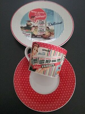 Kelloggs Collectable Cup/Saucer/Plate/vintage Theme Set of 3 pieces