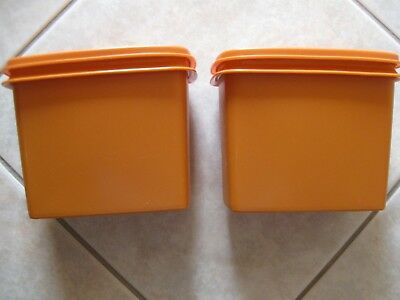 'tupperware' Vintage 2 Orange Rectangle Modular Stacking Containers  Excellent
