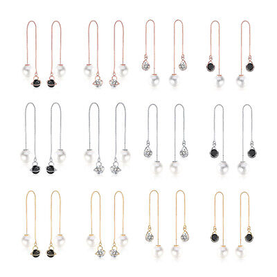 Elegant Women CZ Drop Long Dangle Hook Earrings Chain Thread Silver Gold Jewelry