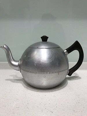 Vintage Aluminium Swan Brand Empire 6 Cup Teapot Made in England antique 1950s