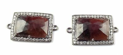 2 Pcs Natural Sapphire Faceted Gemstone CZ 11X17mm,2mm Sterling Silver Connector