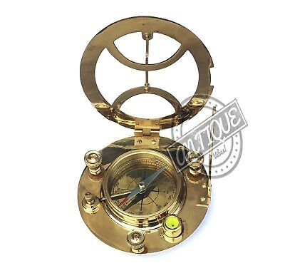 Nautical Brass Sundial Compass Old London Clock Compass Traveling Vintage Device