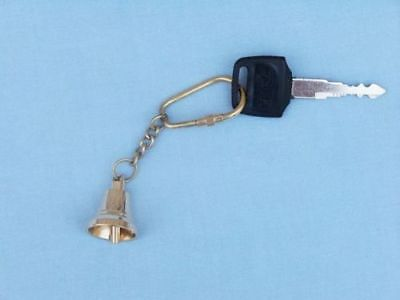 """Antique Nautical Brass Bell Key Chain 4"""" - Solid Brass Keychain key ring Replica"""