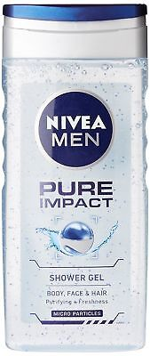 Nivea Pure Impact Shower Gel for body,face,hair for Men 250 ml `Free Shipping