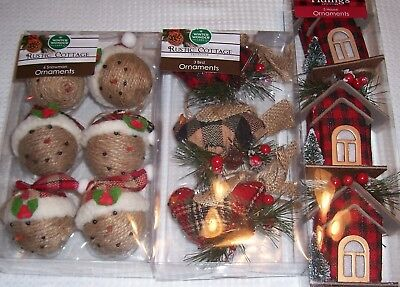 rustic country plaid houses3 birds3 snowmen 6 christmas - Country Christmas Tree Ornaments