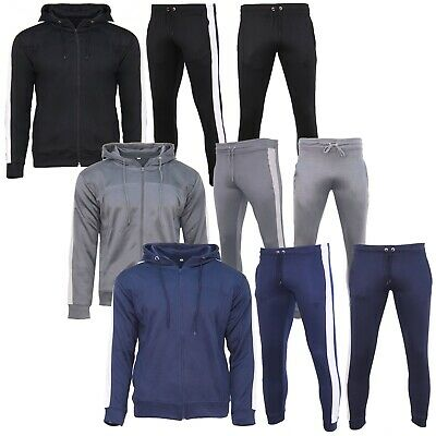 Mens Polyester Tracksuit Style Slim Fit Joggers Bottom Zip Hoodie Panel Designer
