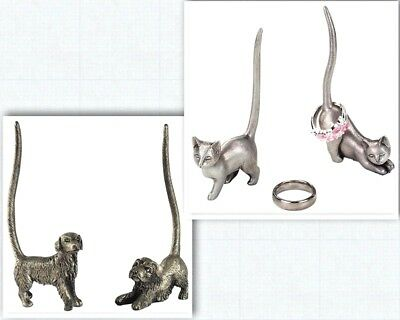 Cat Ring Stand and Holder - Dark Silver Pewter Dog Ring Stand holder Silver 9CM