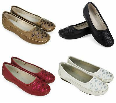 New Ladies Womens Flat Casual Comfort Diamante Work Pumps Loafers Shoes UK 3 4 8