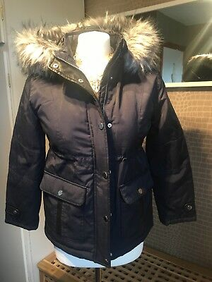 Girls Candy Couture Age 11 Navy Fur Trim Hooded Jacket