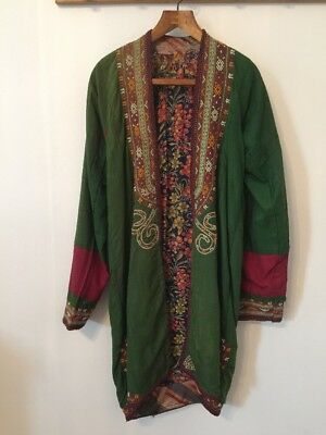Green & Red Cotton Kaftan Beautiful Embroidery Jazzy Lining