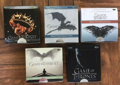 Game of Thrones Five Boxes of Base Cards Season 2, 3, 4, 5 & 7