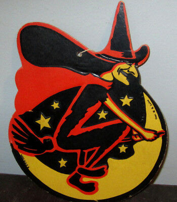 Vintage Halloween Witch Flying Die-Cut U.S.A. H.E. Luhrs Wall Hanging 1940-1950s