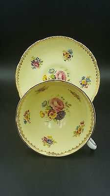 Royal Grafton Pale Yellow Floral Gold Trimmed Cup and Saucer Numbered