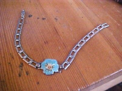 Vintage Sterling Enamel Rose Art Deco Bracelet