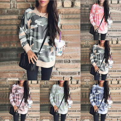 Fashion Women Camouflage Casual Tops T Shirt Loose Long Sleeve Polluver Blouse