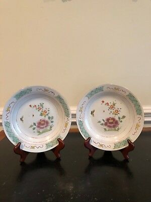 Antique Chinese plates, 19th c. Porcelain plates with butterfly and floral motif