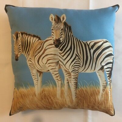 New Beautiful Pair Of Zebras On Safari Wildlife Complete 15 X 15 Throw Pillow