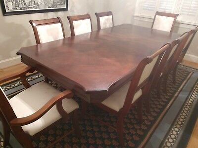 Beautiful carved wood heavy high quality dining table and chairs