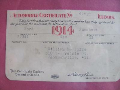 Antique 1914 Automobile Certificate Ford Runabout Jacksonville Ill  Model T A