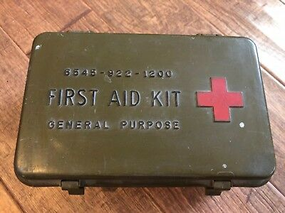 Vintage Military First Aid Kit General Purpose 6545-922-1200 w Contents Pictured