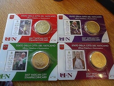 2017 Vatican City Stamp and Coin Cards 14 to 17 BUNC Sealed