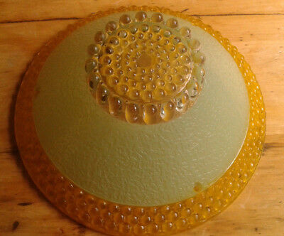 Antique vintage glass shade 3 chain ceiling light fixture green and gold