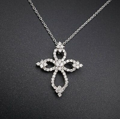 """14k White Gold 2/3ct Natural Diamond Open Cross Pendant Necklace 16"""" NG422"""
