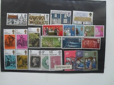 Gb Qe11 1970 Full Year Set Of Mint Mnh  British Stamps