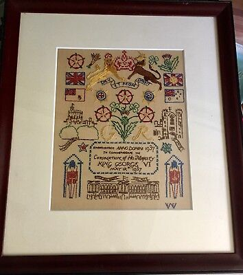Handmade embroidery to commemorate the Coronation of King George VI-framed-1937
