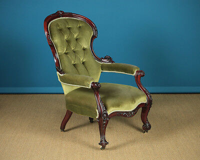 Carved Antique Mahogany Open Armchair c.1860.