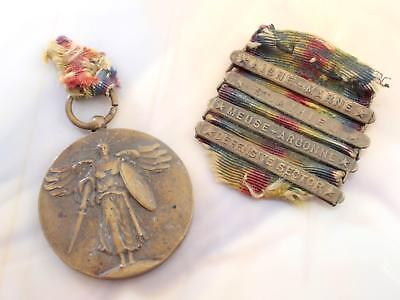 WW I U.S.A. Service Recognition Victory Medal With 4 Campaign Bars!