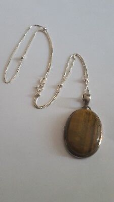 Lovely Vintage Sterling Silver Tigers Eye Pendant & Silver Ball Chain