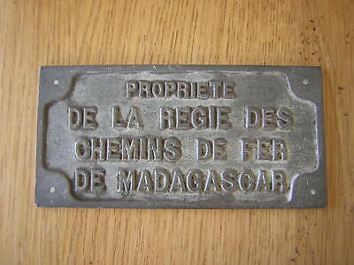 Ancienne plaque SNCF chemin de fer de Madagascar cheminot train locomotive