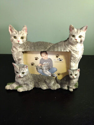 "E&S Imports ""CAT"" PICTURE FRAME Silver Tabby    Holds 4X6 Picture"