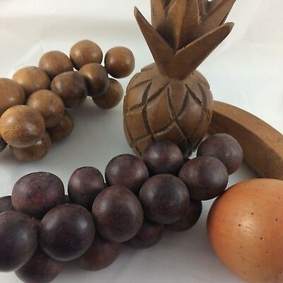 Vtg Mid Century Modern Wooden fruit 6pc grapes apple banana