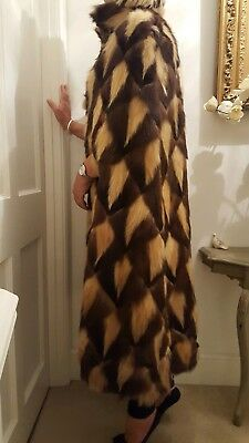 VINTAGE REAL FUR TAN/BROWN LONG CAPE by LAMBRE LILLE FRANCE one size