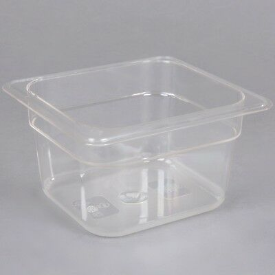 """Commercial 1/6 Size 4"""" Deep Clear Poly Carbonate Prep Table Food Pan **6 PACK**"""