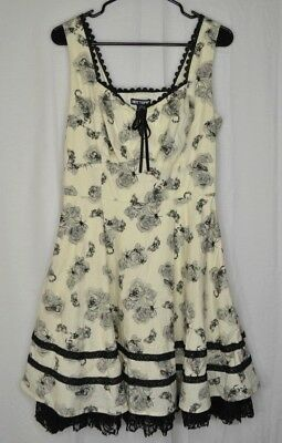 181e749385f Hot Topic Dress Fit Flare Ivory Black Gothic Rose Insects Lined Lace-up  Large