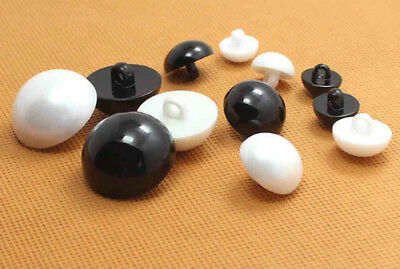 Dome Half Ball Mushroom Shank Buttons Sew on Size: 8MM 9MM 15MM 23MM Cream Black