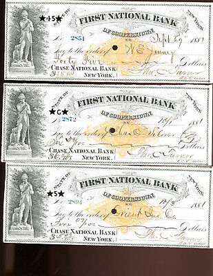 Checks-lot of 10-1881-First National Bank of Cooperstown, New York
