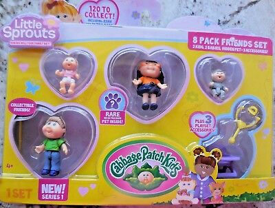 Cabbage Patch Kids Little Sprouts Friends Set with Hidden Pet (8 Pack) NEW